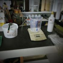 Preparation des ustensiles de coulee