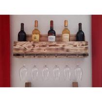Présentoir à bouteilles et verres en bois de palette