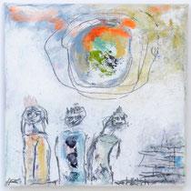 Malerei-Mischtechnik auf Leinwand - 15 x 15 cm - Titel: Die heiligen Drei
