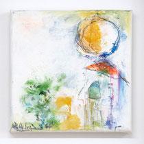 Malerei-Mischtechnik auf Leinwand - 15 x 15 cm - Titel: Erinnerung an die Reise