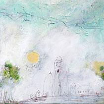 Malerei-Mischtechnik auf Leinwand - 20 x 20 cm  -  Titel: Sommerliche Stadtlandschaft
