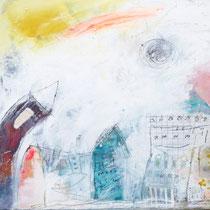 Malerei-Mischtechnik auf Leinwand - 20 x 20 cm - Titel: Stadtlandschaft