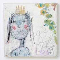 Malerei-Mischtechnik auf Leinwand - 15 x 15 cm - Titel: Pausbackige Prinzessin