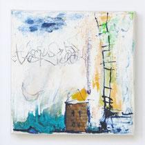 Malerei-Mischtechnik auf Leinwand - 15 x 15 cm - Titel: Haus am Meer mit Leiter