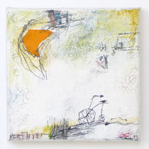 Malerei-Mischtechnik auf Leinwand - 15 x 15 cm - Titel: Mondfahrt