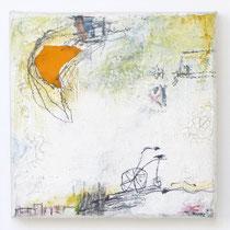 Malerei-Mischtechnik auf Leinwand - 15 x 15 cm - Titel: Mondfahrt -verkauft-