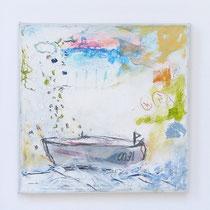 Malerei-Mischtechnik auf Leinwand - 15 x 15 cm - Titel: Erinnerung an die Reise II