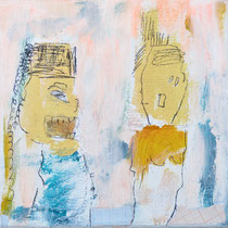 Malerei-Mischtechnik auf Leinwand - 15 x 15 cm -  Titel: Schreiender Chinese
