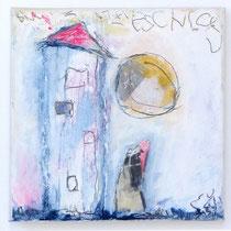 Malerei-Mischtechnik auf Leinwand - 15 x 15 cm - Titel: Eisschloss und Mann im Mond