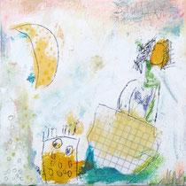Malerei-Mischtechnik auf Leinwand - 15 x 15 cm - Titel: Bootsfahrt in der Abenddämmerung