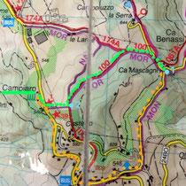 "in verde la variante  (in arancione il percorso del ""1° trekking gucciniano"")"