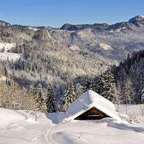 Einsame Berghütten in einer traumhaften Landschaft