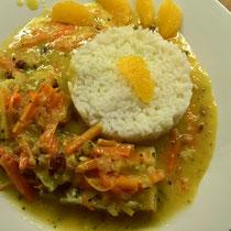 Fisch mit Mörchen & Lauch an Orangensauce und Reis