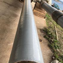Gelcoat gris polyester sur ligne d'arbre d'hélice d'un pétrolier ravitailleur.