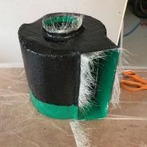 Fabrication du moule en fibre de verre.