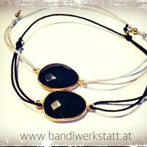 """Edelsteinarmband """"Onyx"""" Silber vergoldet - auf Anfrage je nach Größe ca. 24 Euro"""