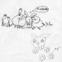 1.Entwurf der Figuren für Bodeta Hoppei, Skizze