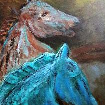 Pferde rot und grün, 40 x 50 cm, 2018