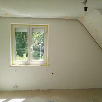 Zimmerwand vorbereitet für die Wandbeschichtung