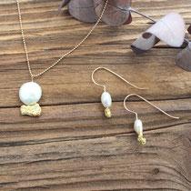 Set in Gold 750  mit Nuggets und Perlen