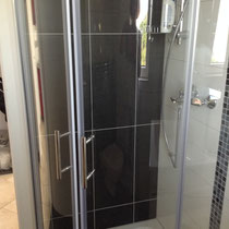 Well sized and modern shower
