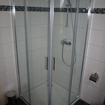 The shower is sufficiently sized and of good quality