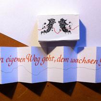 Ein Wunsch ein Spruch im Minileporello - Grösse Streichholzschachtel