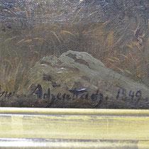 Signatur Landschaftsgemälde von O. Achenbach; Privatbesitz; Photo: G. Hoensbroech, Restaurierungsatelier Conservatio Artis, Engelskirchen