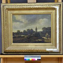 Vorzustand, Tafelgemälde von M. Hobbema, Privatbesitz; Photo: G. Hoensbroech, Restaurierungsatelier Conservatio Artis, Engelskirchen