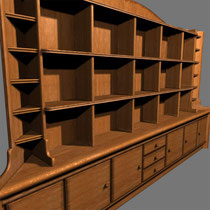 This is the big bar shelf in the truckstop scene. It is largely overdone with details like dust, scratches broken edges etc. But I like my wood texturemap, in fact still use it occasionaly.
