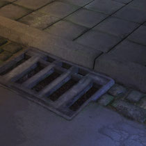 "One of my ""look-development"" renderings. for the entrance to the sewers. I did have to texture a whole lot of streets in the production ..."