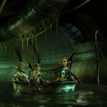 I was responsible for the texturing of the set itself including the pipes on the wall. The junk floating around as well as the sticks in the water and the pod the characters are in were done by Kay Poprawe