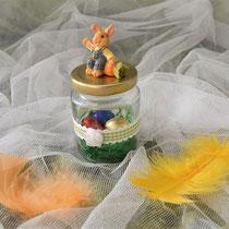Dekoglas mit Hase und grünem Karoband für Süßes, Geld oder Gutschein