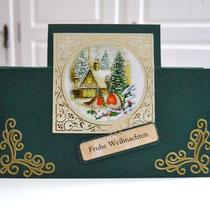 Weihnachtskarte/Aufstellkarte grün-gold