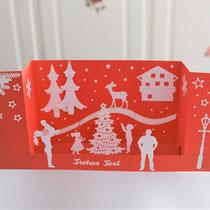 Aufstellkarte für Weihnachten rot-weiß