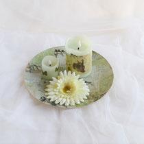 Glasteller mit Frühlingsmotiven