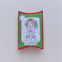"""Pillowbox Motiv Mädchen/Hirsch """"Alles liebe zum Fest"""" (1)"""