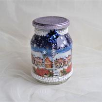 Dekoglas blau-lila mit Weihnachtsdorf