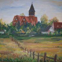 Blick zur Spreenhagener Kirche - Öl