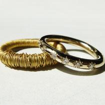 Bague de fiançailles or gris et diamants sertis étoile et alliance enroulée argent oxydé et fil or jaune