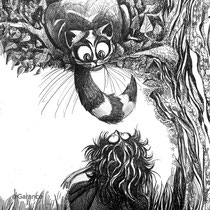 """""""Oh you can't help that,"""" said the Cat.; """"we're all mad here."""""""