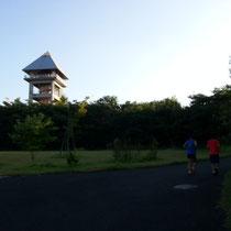 あの左の高台を目指します。左には美女ガー集団が・・・走ってます!