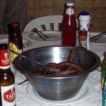 Abendessen mit Kuduwürstchen