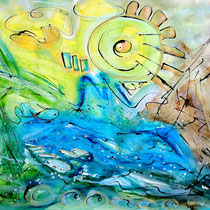 """""""RIVER SONG""""  (24 x 18)  mixed water media on paper  SOLD"""