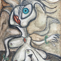 """ATE""  goddess of mischief  (46x34)  (mixed water media on felt tar paper)  $5000"