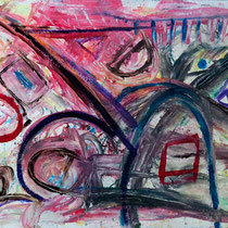 """THE OLD PLAYGROUND""  (58x43)  (mixed water media on felt tar paper)  $2000."