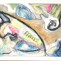 """WATERFALL STUDIES III"" (6X9) cold wax/oil on paper $75"