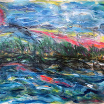 """PINK SUN BEACH""  (18x24) mixed water media on paper  $500"
