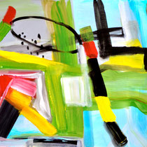 """""""MIND GAMES""""  (18 x 24) mixed water media on paper  $500"""