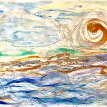 """SECRET BEACH DAYS""  (18x24) mixed water media on paper  $500"